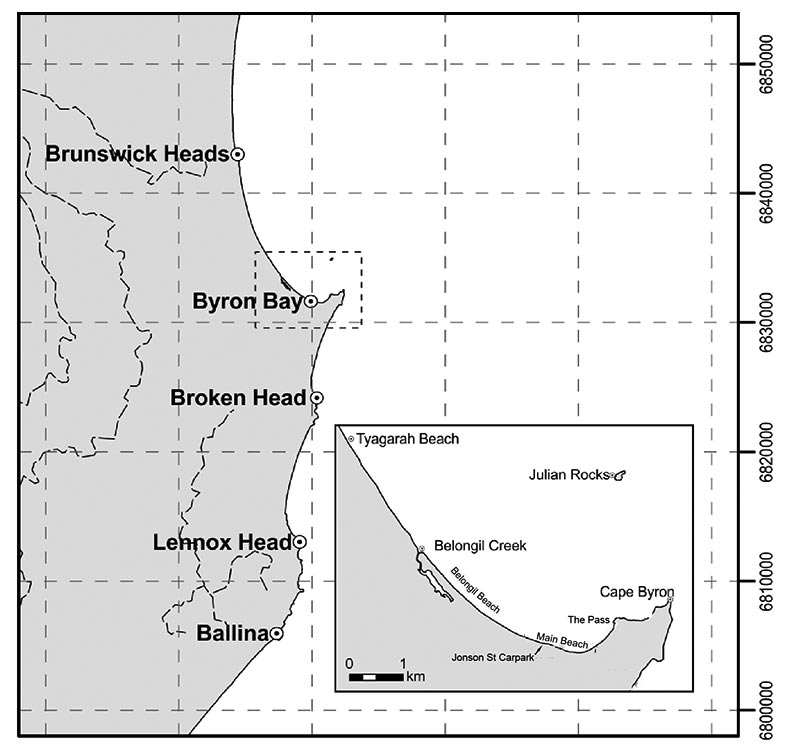 Figure 1: Map of the Byron Bay to Brusnwick Heads compartment